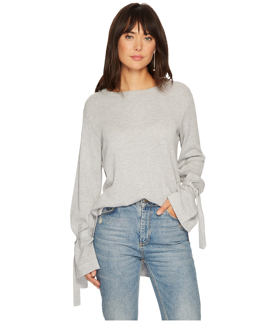 1.STATE - Long Sleeve Crewneck Sweater w/ Sleeves Cuff Ties