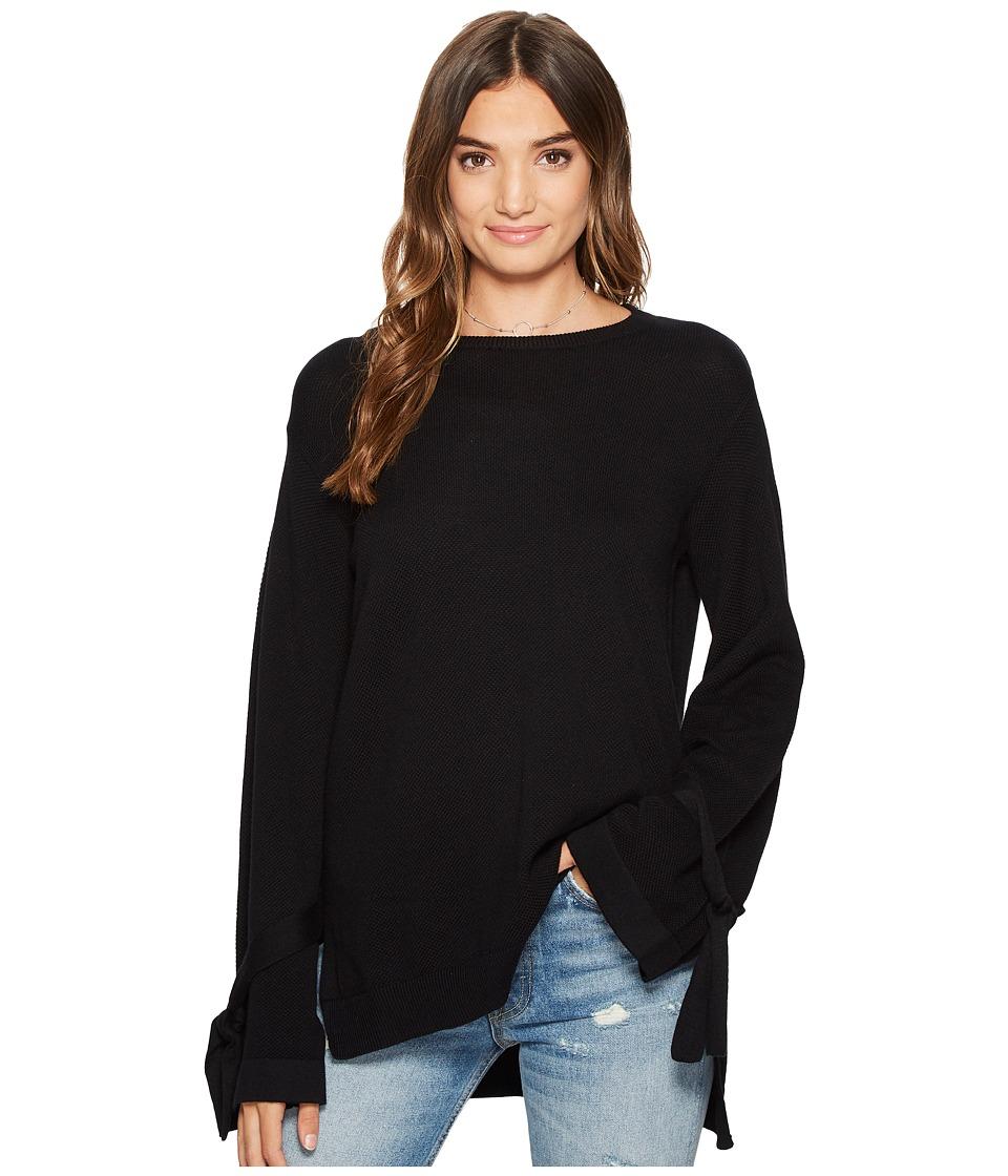 1.STATE - Long Sleeve Crewneck Sweater w/ Sleeves Cuff Ties
