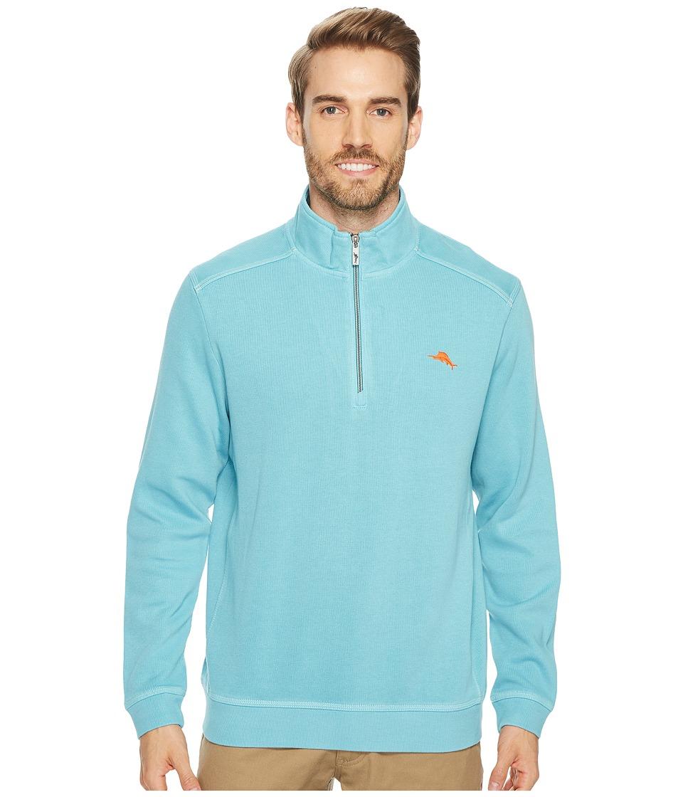 Tommy Bahama Nassau 1/2 Zip Long Sleeve Knit Shirt (Maui Blue) Men