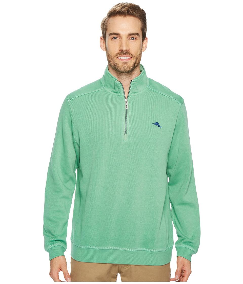 Tommy Bahama Nassau 1/2 Zip Long Sleeve Knit Shirt (Pale Amazon) Men