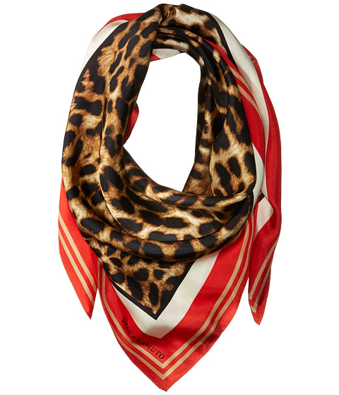 Vince Camuto Racing Leopard Square Scarf - Poppy