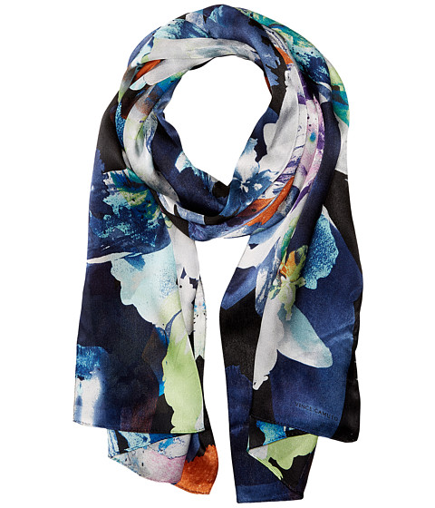 Vince Camuto Floral Photo Clash Oblong Scarf - Black Bright