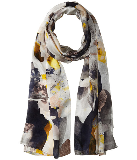 Vince Camuto Floral Photo Clash Oblong Scarf - White/Yellow