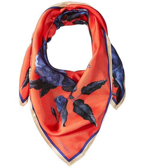 Vince Camuto Sepia Rose Square Scarf - Red/Blue