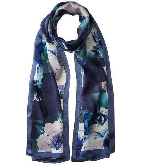 Vince Camuto Photoreal Floral Oblong Scarf - Navy Sea