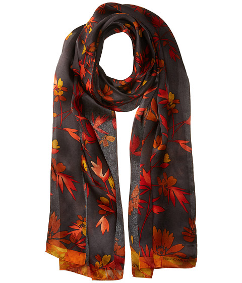 Vince Camuto Japanese Wallpaper Oblong Scarf - Charcaol/Flame