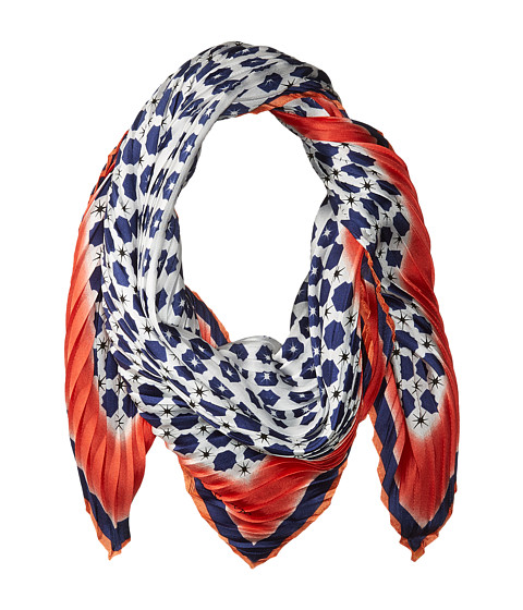 Vince Camuto Military Dot Pleated Square Scarf - Flame