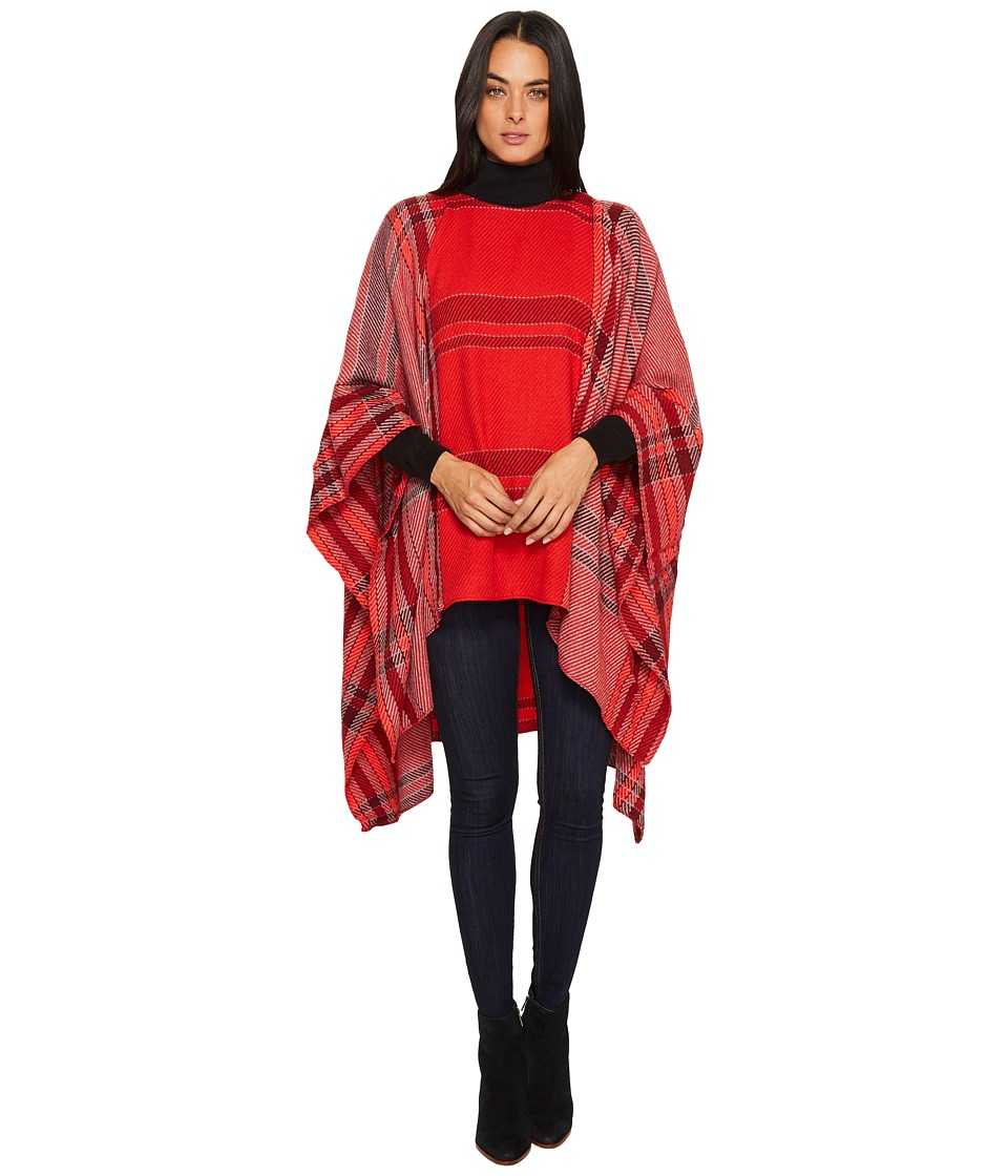 Vince Camuto Exaggerated Plaid Poncho (Pop Red) Women's C...