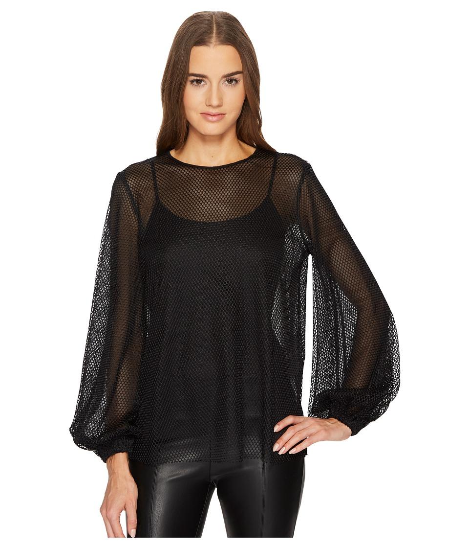 Sportmax Girotta Jersey Mesh Long Sleeve Top (Black) Wome...
