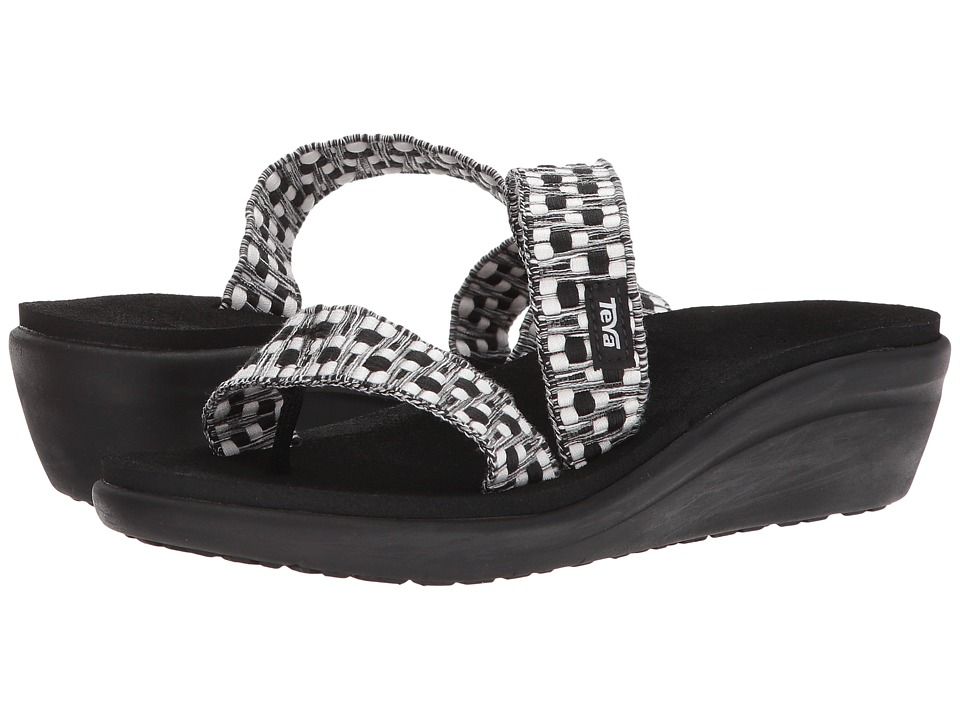 Teva Voya Loma Wedge (Tonya Black/White) Women's Shoes