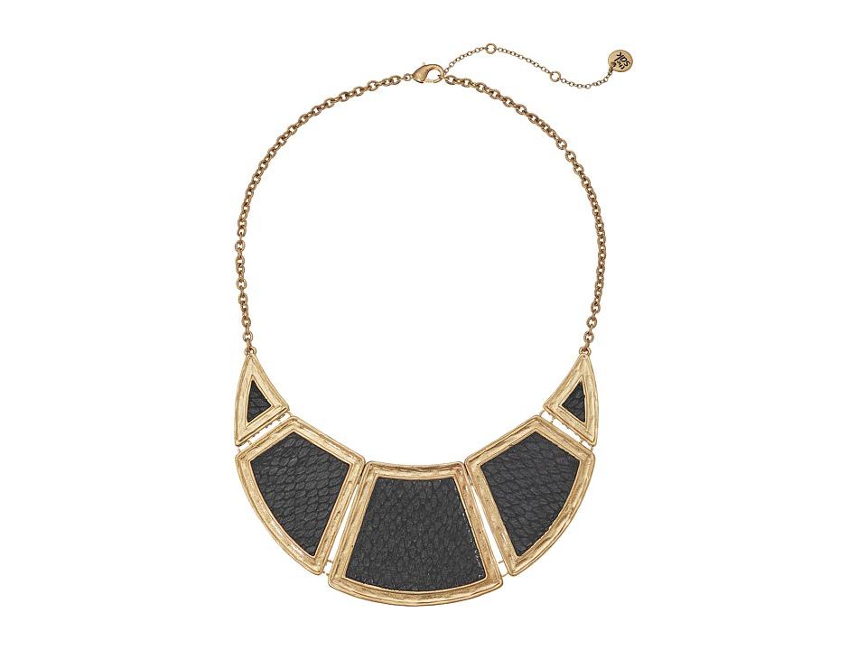 The Sak Inlay Panel Bib 16 Necklace (Black/Gold) Necklace