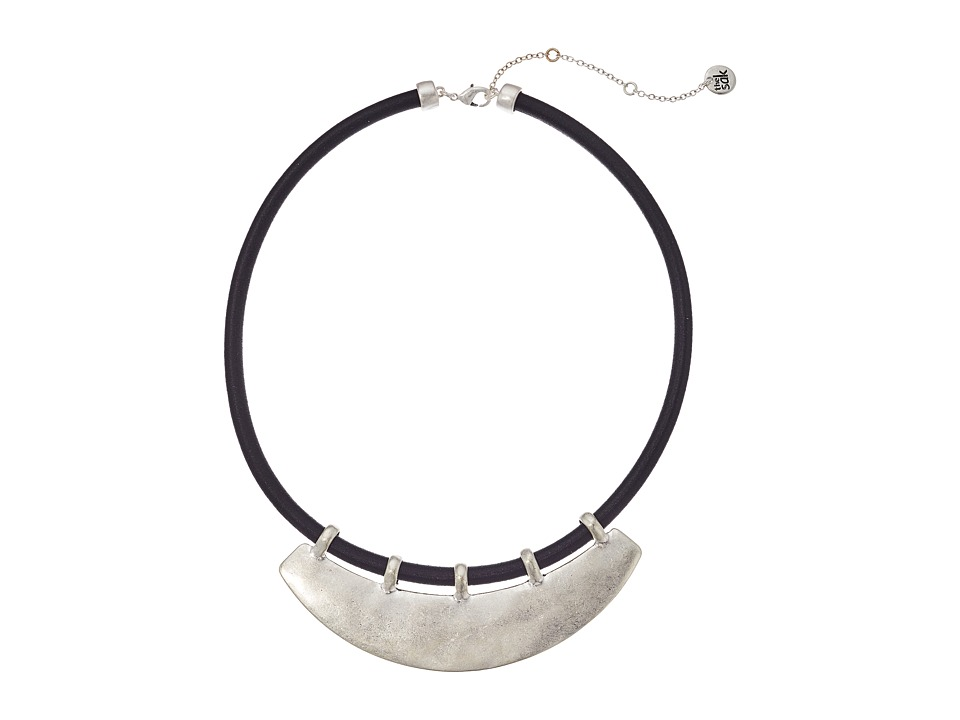 The Sak Metal Bib 16 Necklace (Silver) Necklace