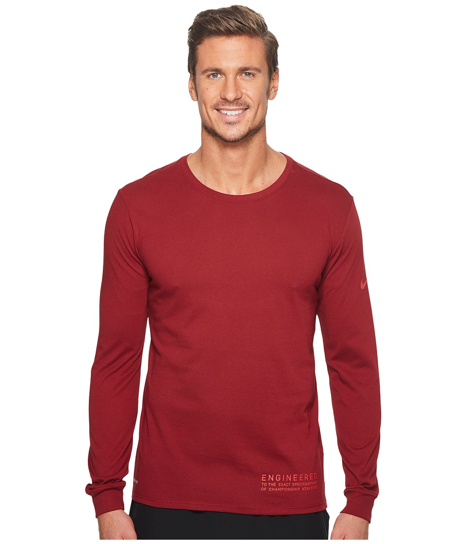 Nike Dry Elite Word Long Sleeve Tee (Team Red/Team Red) Men