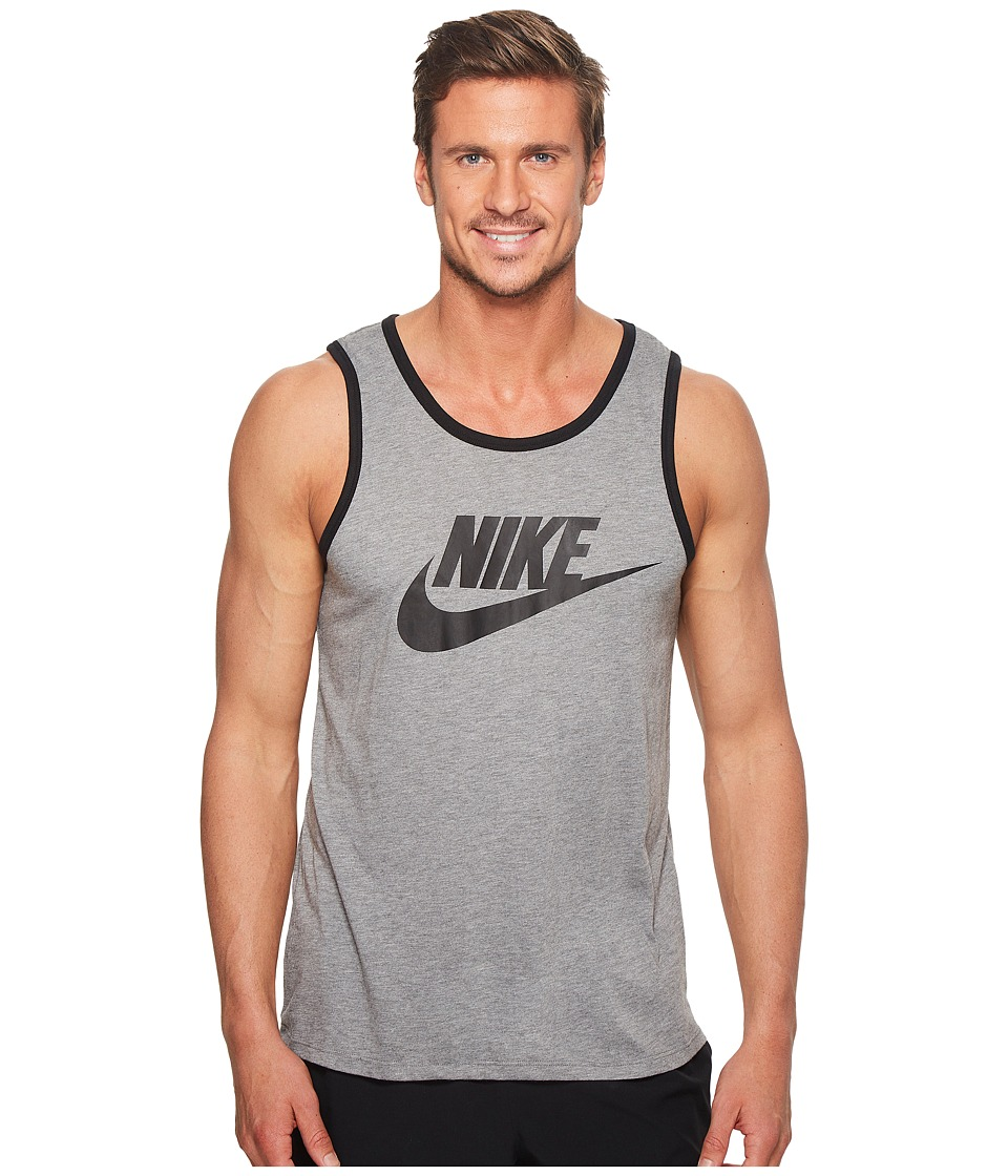 Nike Ace Logo Tank Top (Carbon Heather/Black/Black) Men