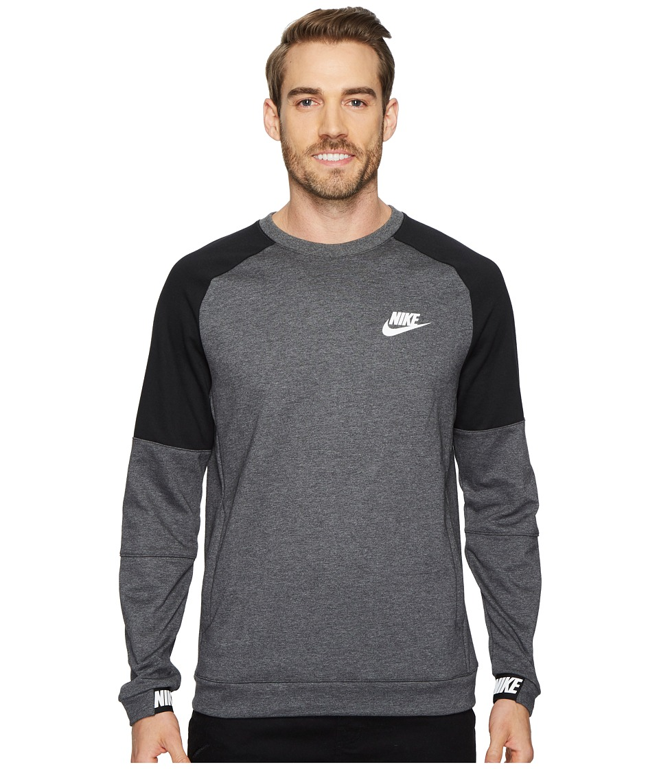 Nike Sportswear Advance 15 Crew (Charcoal Heather/Black/White) Men
