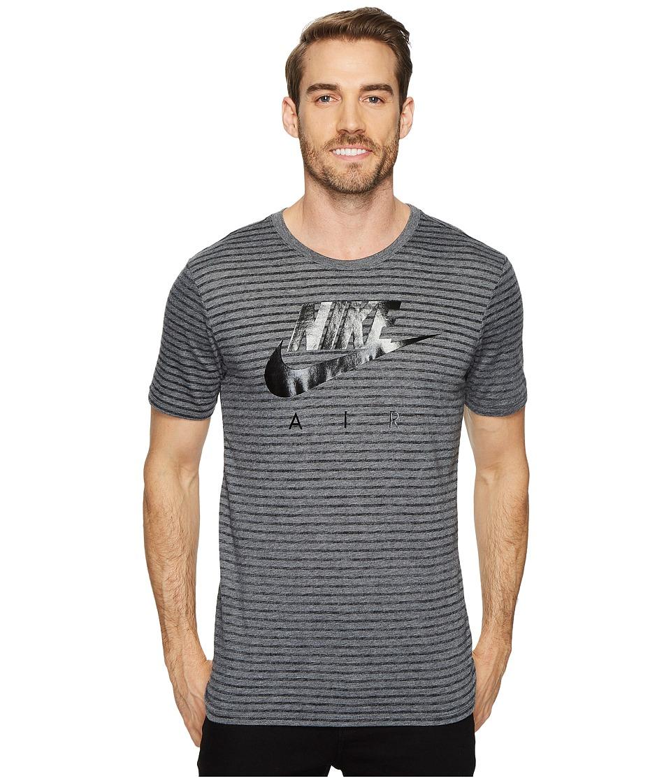 Nike Sportswear Striped T-Shirt (Charcoal Heather/Black) Men