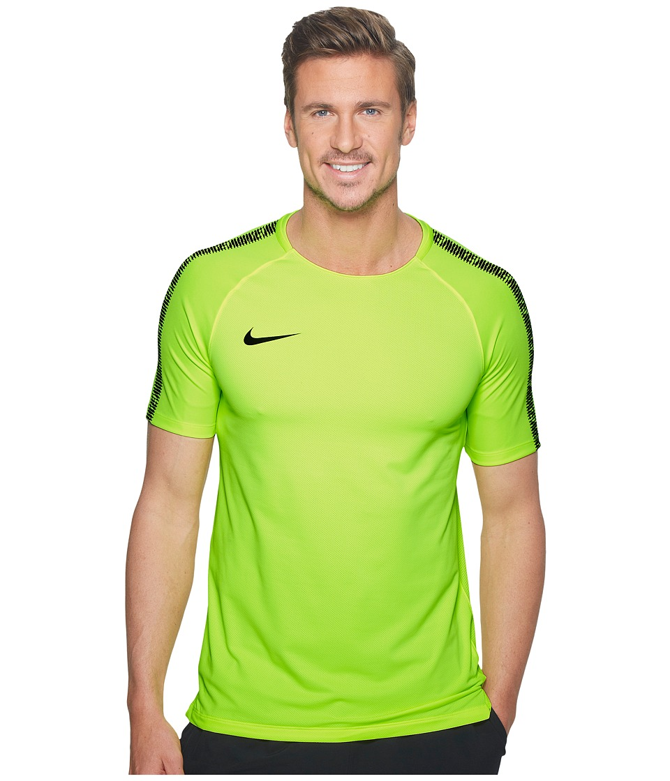 Nike - Breathe Squad Short Sleeve Soccer Top (Volt/Black/Black) Mens Short Sleeve Pullover