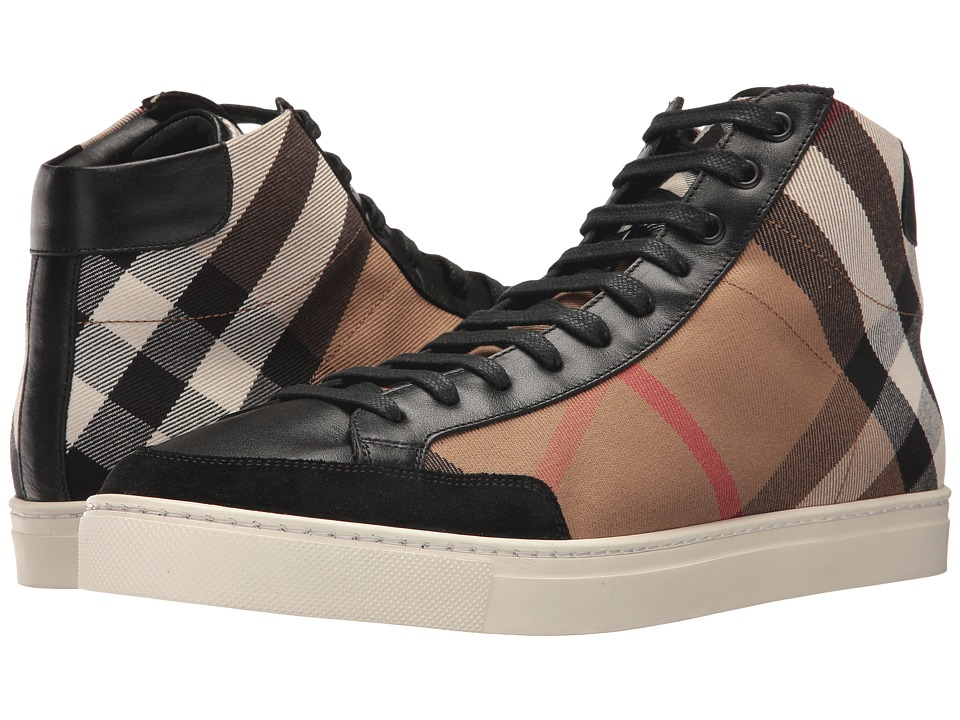 Burberrys Painton House Check High Top (Black 2) Men's Shoes