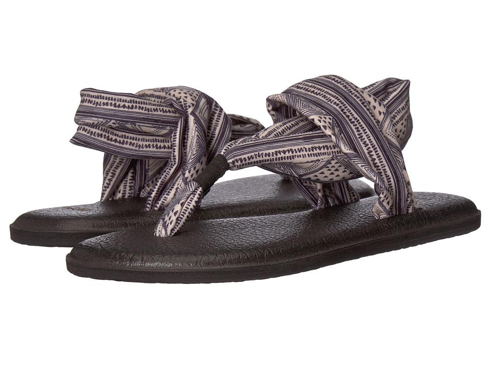 Sanuk Yoga Sling 2 Prints (Tan/Black Geo Stripes) Sandals