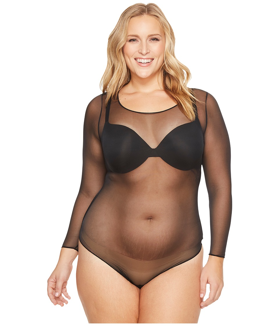 Spanx - Plus Size Sheer Long Sleeve Bodysuit (Very Black) Womens Jumpsuit & Rompers One Piece