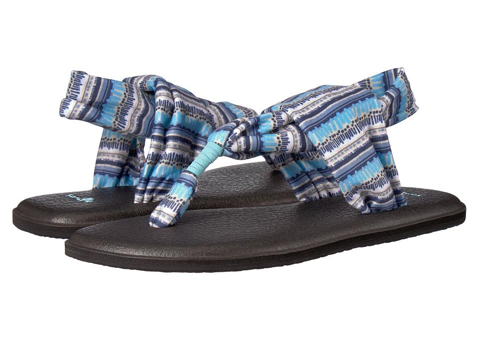 Sanuk Yoga Sling 2 Prints (Blue Topaz Island Stripe) Sandals