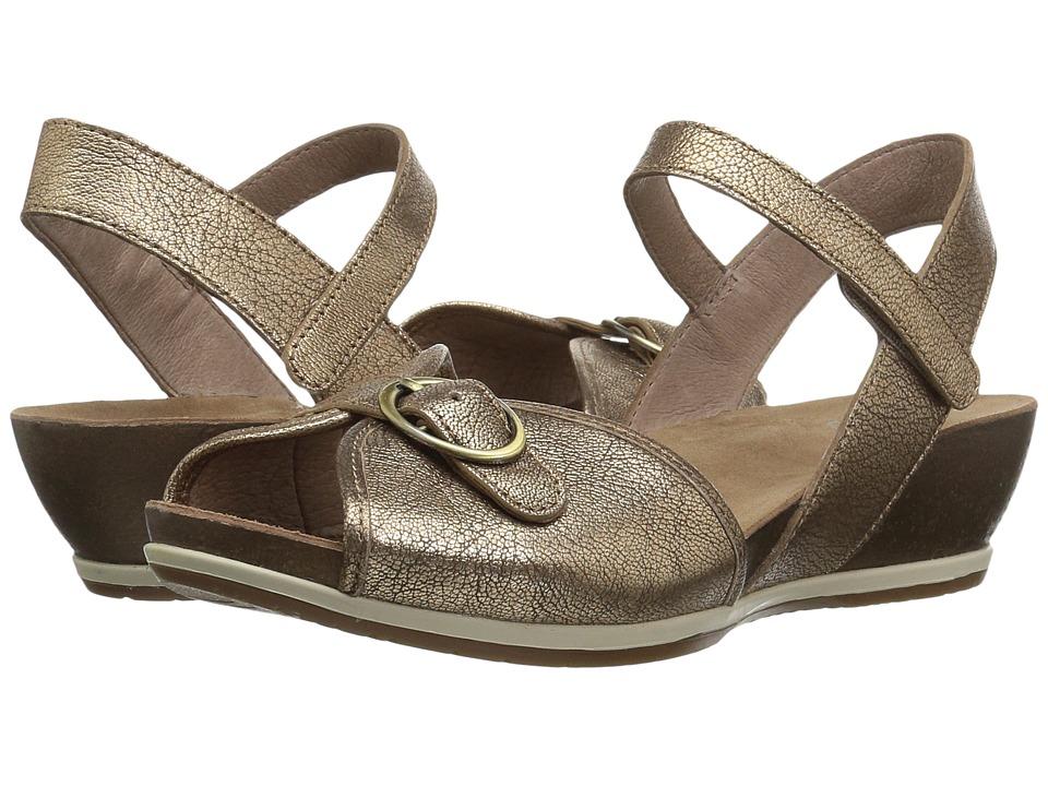 Vintage Sandals | Wedges, Espadrilles – 30s, 40s, 50s, 60s, 70s Dansko - Vanna Gold Nappa Womens  Shoes $139.95 AT vintagedancer.com