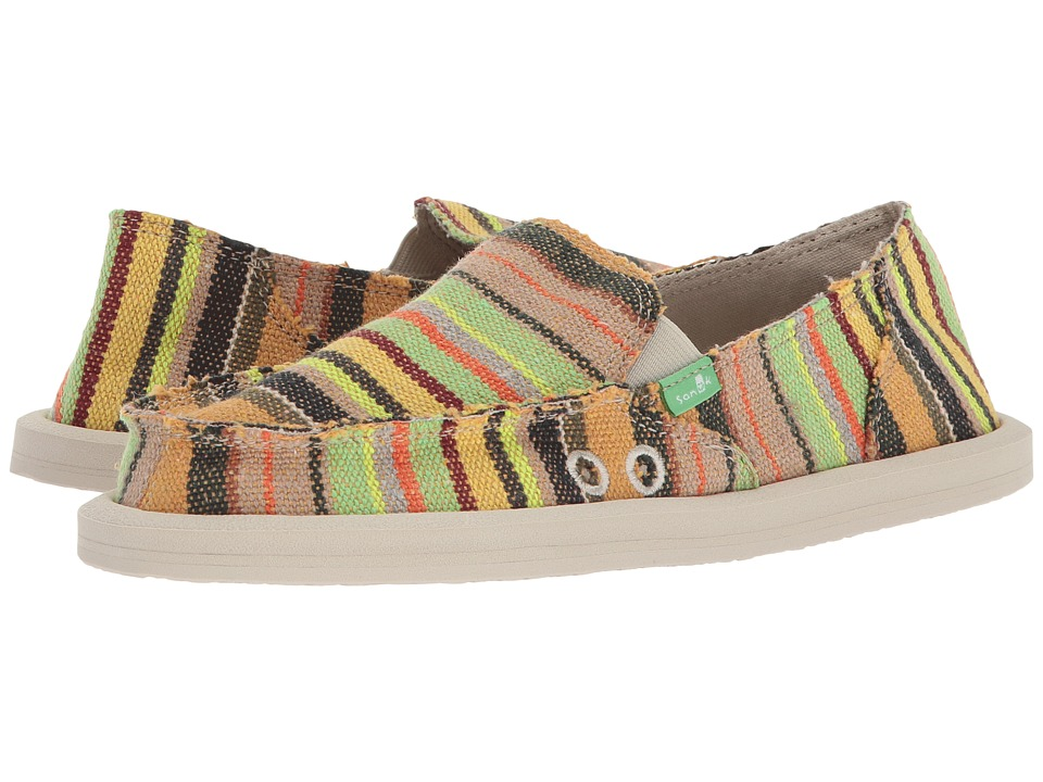 Sanuk - Donna (Green Kauai Blanket) Womens Slip on  Shoes