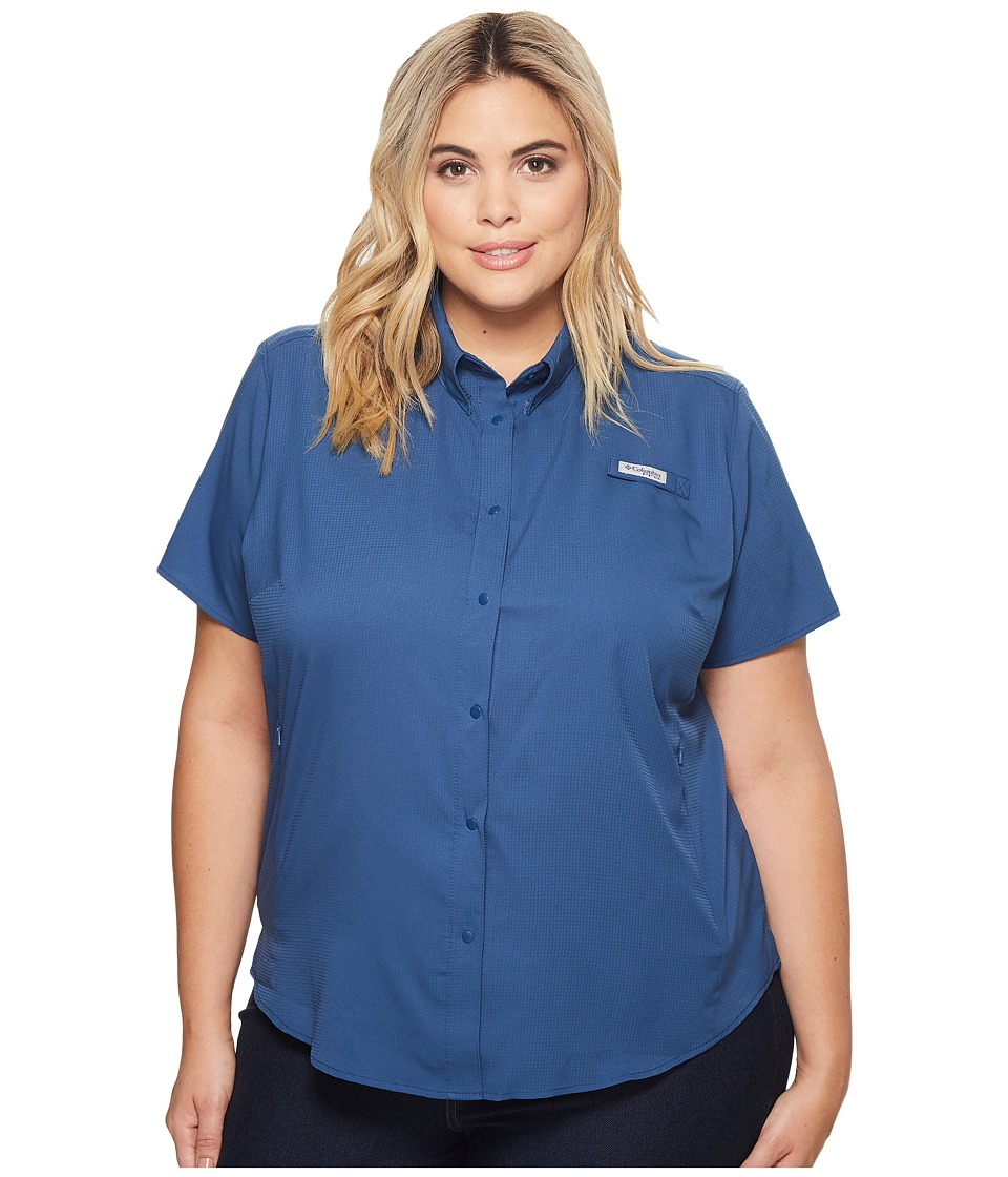 Columbia - Plus Size Tamiamitm II S/S Shirt (Night Tide) Womens Short Sleeve Button Up
