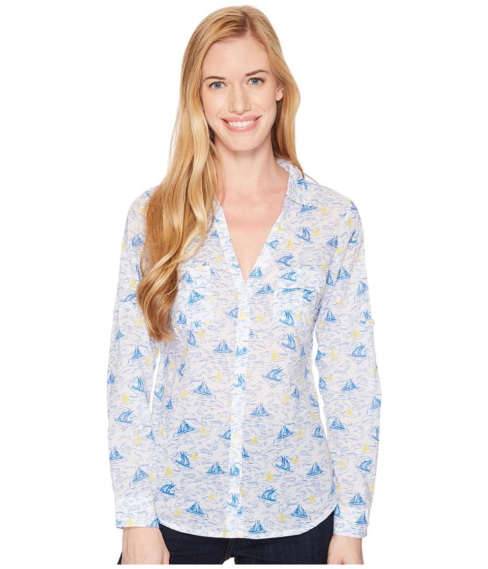 Columbia - Sun Driftertm L/S Shirt (Blue Macaw Toile Boats) Womens Long Sleeve Button Up