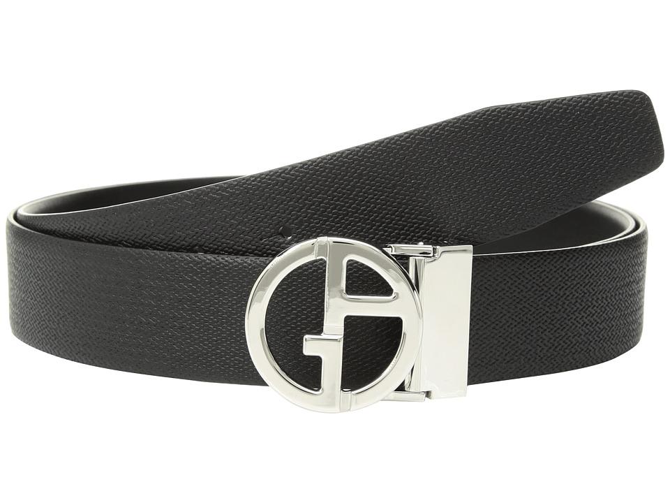 Giorgio Armani Chevron/Smooth Reversible Belt (Black/Blac...