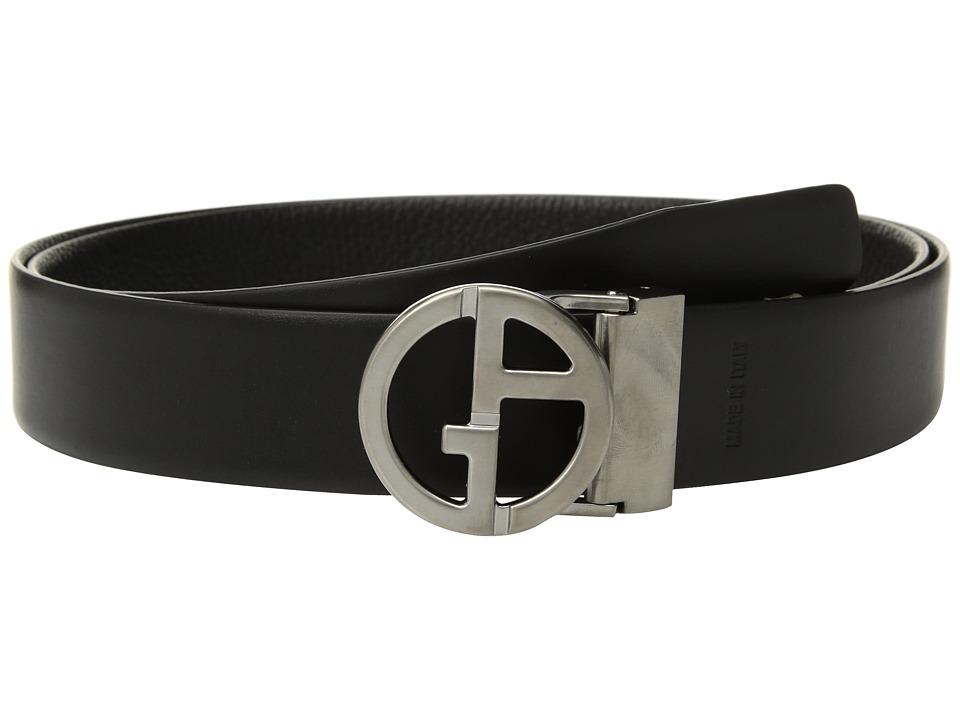 Giorgio Armani Smooth/Grain Reversible Belt (Black/Black)...