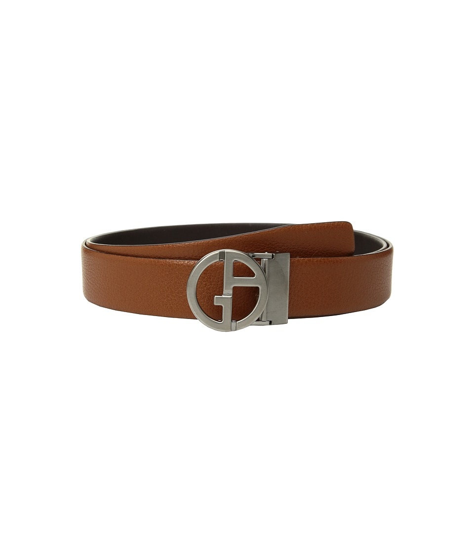 Giorgio Armani Smooth/Grain Reversible Belt (Cuoio/Dark B...