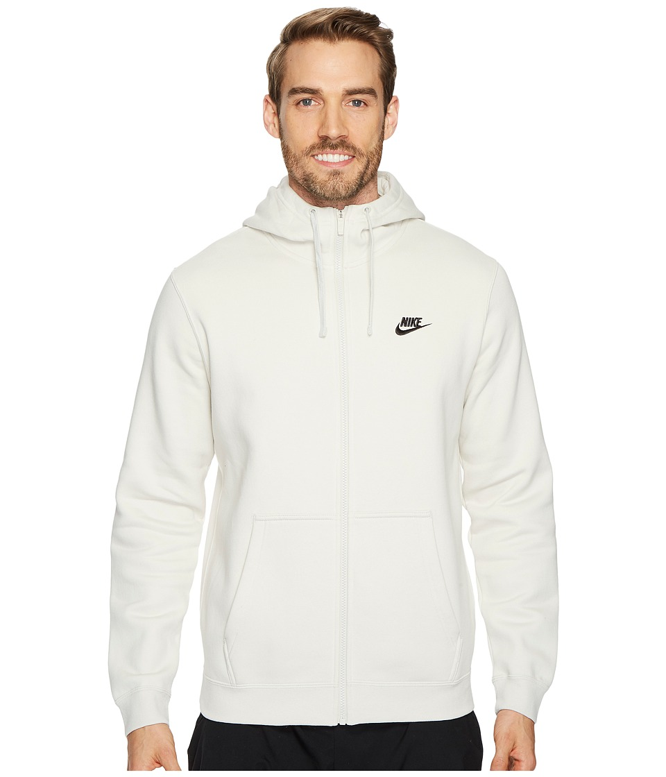 Nike Club Fleece Full-Zip Hoodie (Light Bone/Light Bone/Black) Men