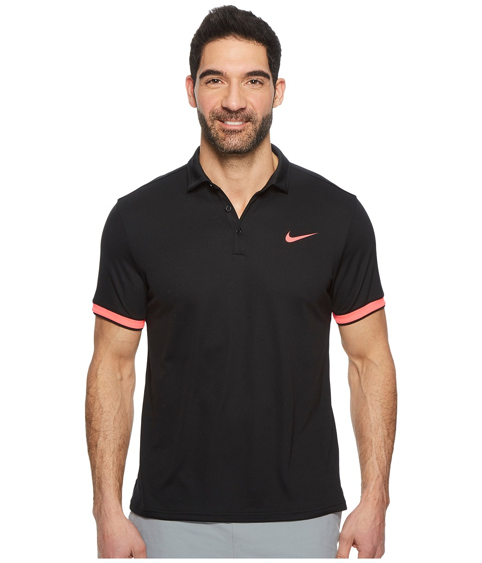 Nike Court Dry Tennis Polo (Black/Racer Pink/Racer Pink) Men
