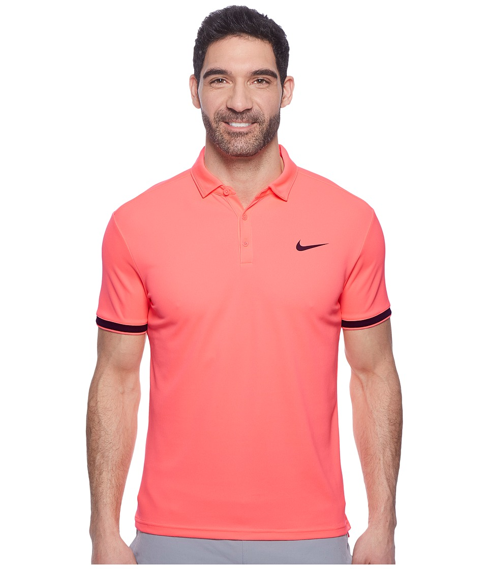 Nike Court Dry Tennis Polo (Lava Glow/Black/Black) Men