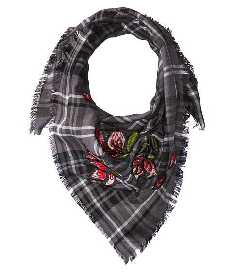 BCBGeneration Plaid Floral Embroidered Bandana - Black