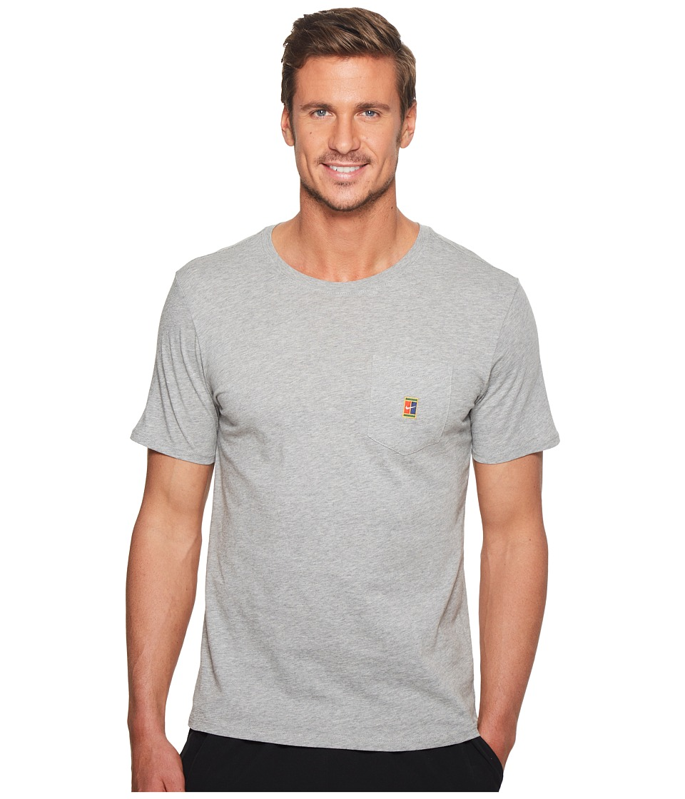 Nike Court Heritage Pocket Tennis T-Shirt (Dark Grey Heather) Men