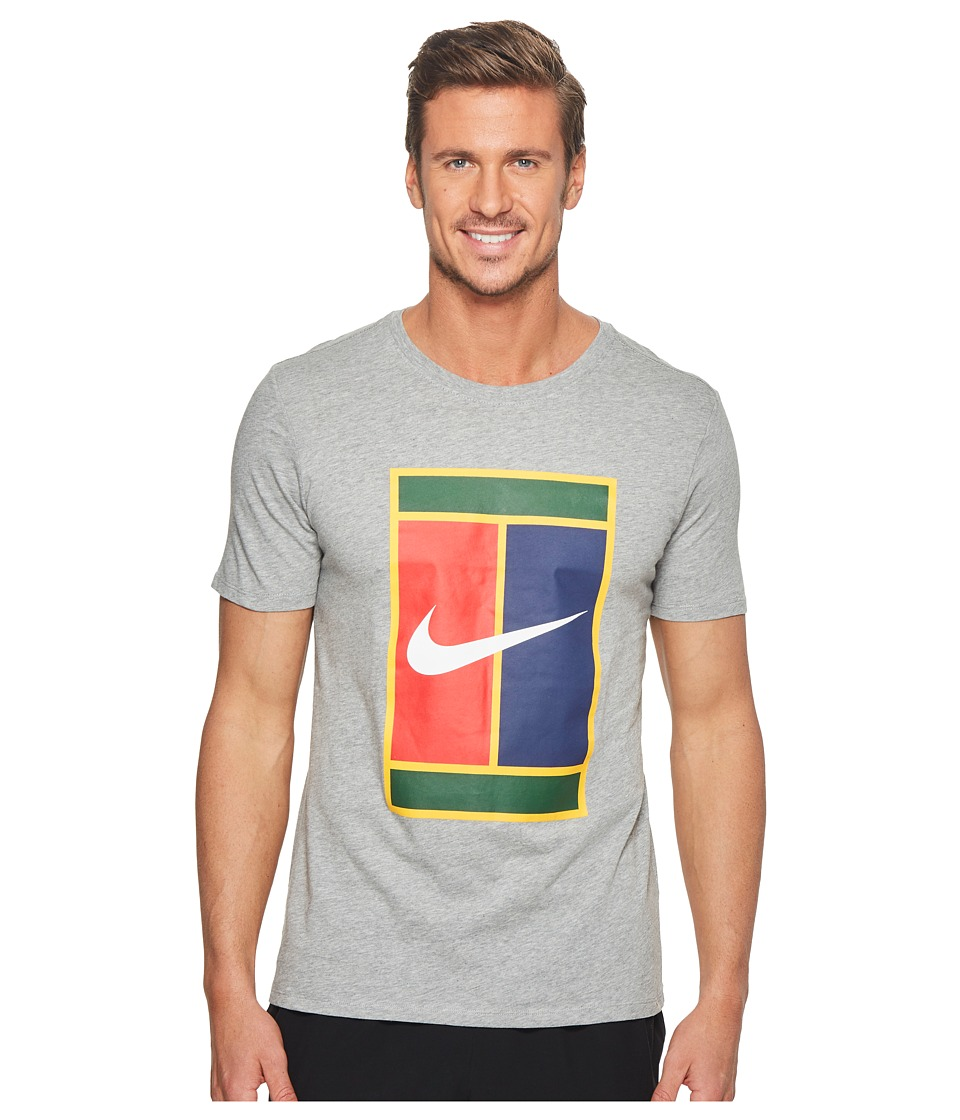 Nike Court Heritage Logo Tennis Tee (Dark Grey Heather/White) Men