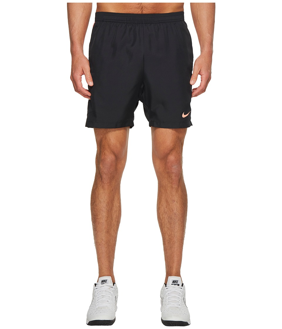 Nike Court Dry 7 Tennis Short (Black/Black/Lava Glow/Lava Glow) Men