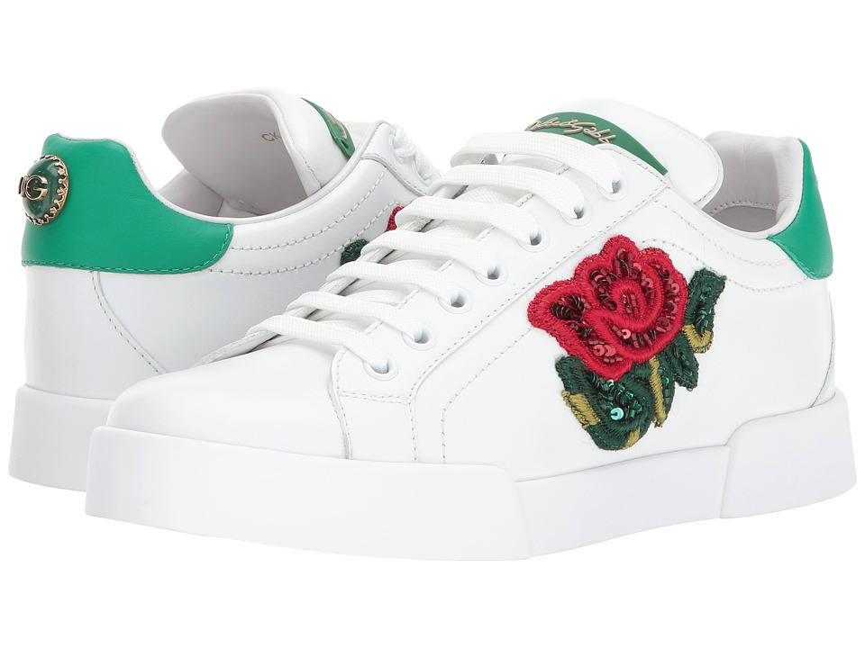 Dolce & Gabbana Sneaker with Sequin Rose (White) Women