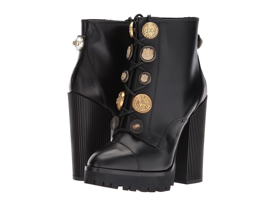 Dolce & Gabbana Leather Bootie with Button Lace-Up (Black) Women