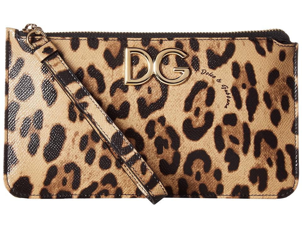 Dolce & Gabbana Stampa Dauphine DG Logo Zip Mini Bag (Leo...