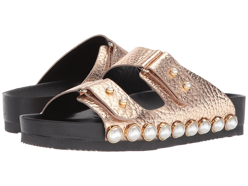 Suecomma Bonnie - Jewel Detailed Flat Sandal (Bronze) Womens Sandals