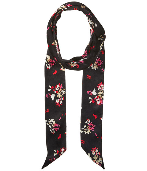 Vince Camuto Painted Ditsy Floral Skinny Scarf - Black/Pink
