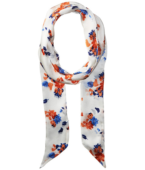 Vince Camuto Painted Ditsy Floral Skinny Scarf - White/Blue