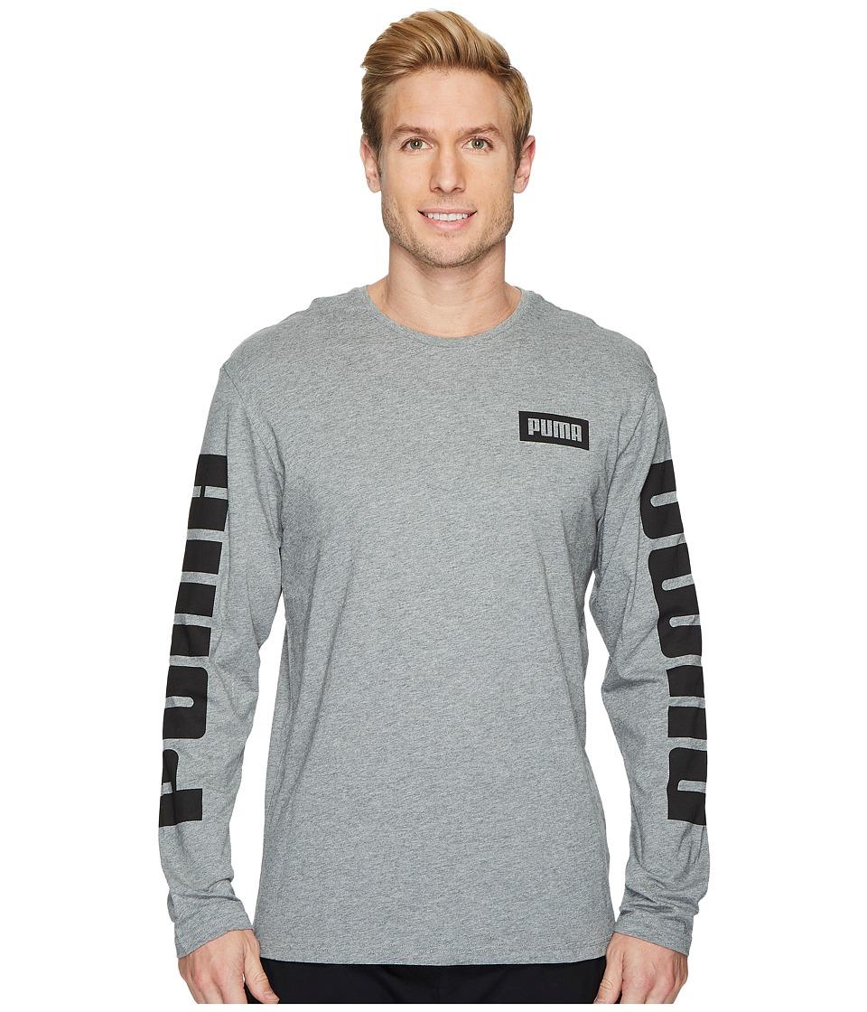 PUMA Rebel Long Sleeve Top (Medium Gray Heather) Men