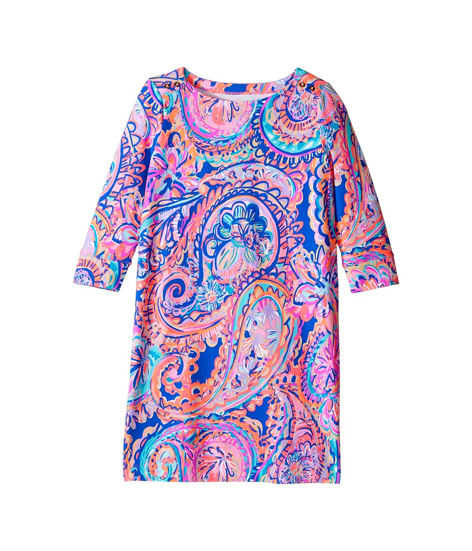 Lilly Pulitzer Kids UPF 50+ Mini Sophie Dress (Little Kids/Big Kids) (Blue Current Drop Me A Lime) Girl