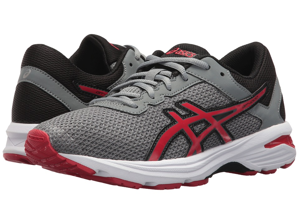 ASICS Kids - GT-1000 6 GS (Big Kid) (Stone Grey/Classic Red/Black) Boys Shoes
