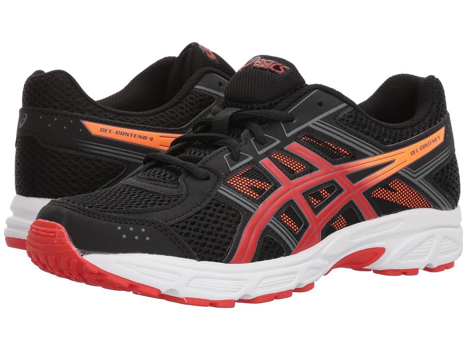Image of ASICS Kids - GEL-Contend 4 GS (Big Kid) (Black/Fiery Red/Shocking Orange) Boys Shoes