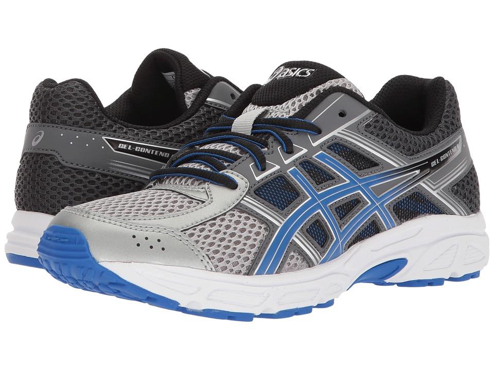 Image of ASICS Kids - GEL-Contend 4 GS (Big Kid) (Silver/Blue/Carbon) Boys Shoes